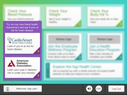 Kiosk home screen with purple outline around assessment tiles