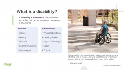 images of slides from accessibility presentation - explanation of 5 categories of disabilities